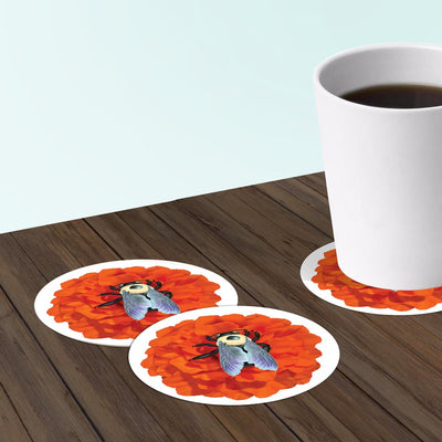 Paper bar coasters with bee design