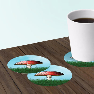 Paper coasters for bar with mushroom toadstool design