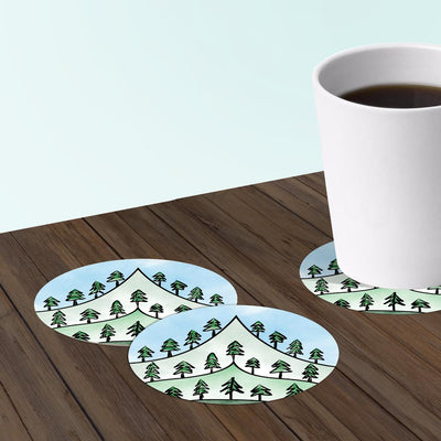 Coasters for hikers made from recycled paper.
