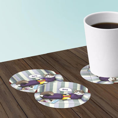Cat With Remote Coasters: Bar Coaster 6-Piece Set