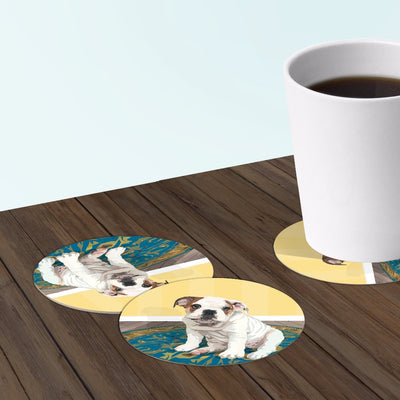 English bulldog coaster set