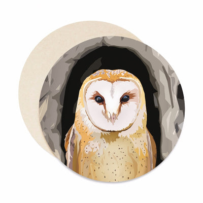 Barn owl coasters. Paper bar coaster set.