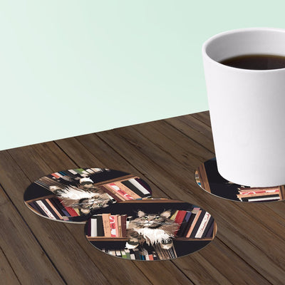 bookshelf cat coaster set