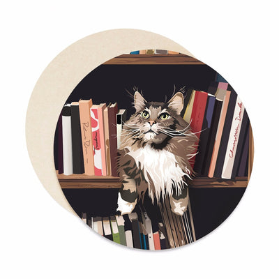 bookshelf cat coasters