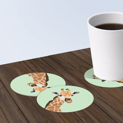 Giraffe Coaster Set: 6-piece Round Paper Bar Coasters