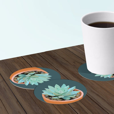 Succulent Coaster Set (Multiple Versions Available): 6-piece Round Paper Bar Coasters