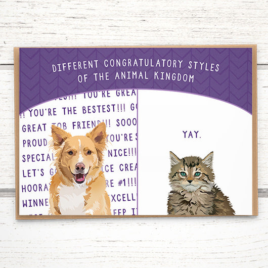 Congratulations card: Different congratulatory styles of the animal kingdom - Greymount Paper & Press