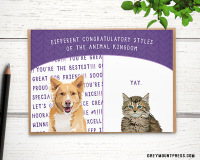 Funny congrats card for family. Congratulations card with dog and cat.