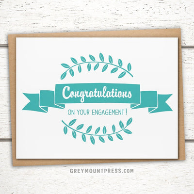 Congratulations on your engagement card. Engagement congrats card.