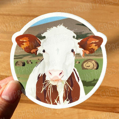Cow Sticker. Vinyl Sticker. Cow laptop sticker.