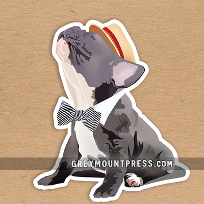 Frenchie laptop sticker. French bulldog water bottle sticker.