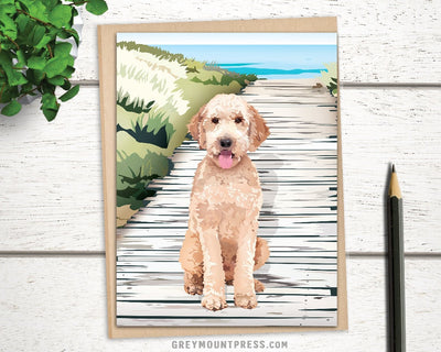 Blank dog card for dog lovers. Goldendoodle card.