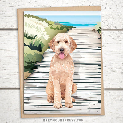 Golden Doodle Card. Blank dog card for dog lover