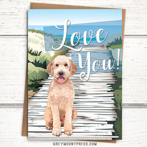 "Doodle card: ""Love You!"" Dog Love Card"