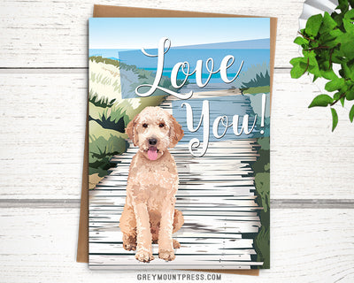 Doodle card. Love You Dog card for weddings and anniversaries