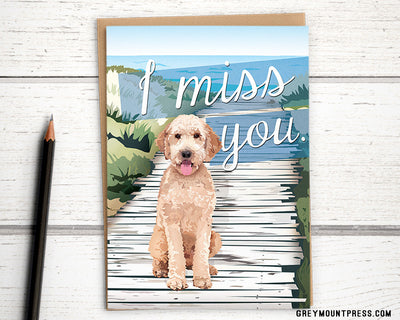 Dog Miss you card for son at college