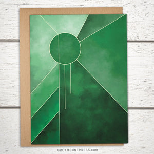 Lux: Emerald Radiance Abstract Greeting Card