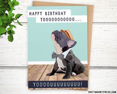 Frenchie France bulldog birthday card for dog lover
