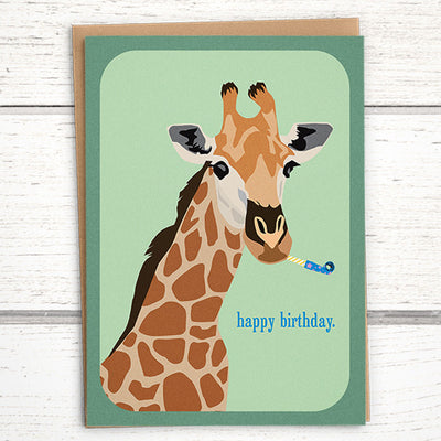 Giraffe birthday card for animal lover