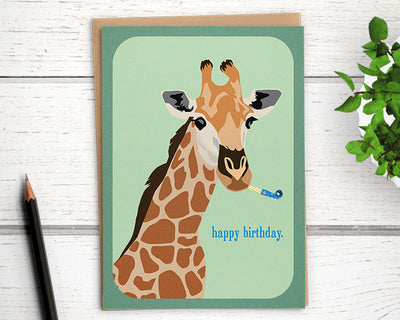 funny birthday card with giraffe for friend