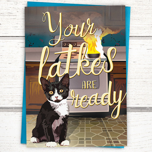 Funny cat Hanukkah cards. Jewish holiday cards.