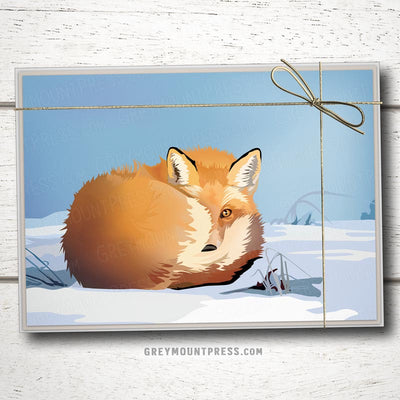Fox Christmas Card. Fox Holiday Card. Nature themed Christmas Card.