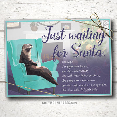 Otter Christmas cards. Funny otter holiday cards.