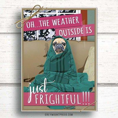Pug Christmas Cards. Pug Holiday Card for dog lovers.