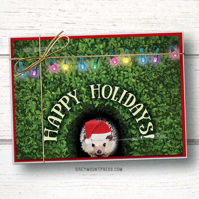 Hedgehog Christmas Card. Hedgehog Holiday Card.