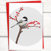 Chickadee christmas card, bird christmas card