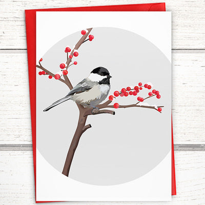 Black-capped chickadee greeting card. Bird greeting card.