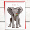 "Holiday: Elephant with mistletoe ""Pucker Up"" Holiday Card, 5""x7"" - Greymount Paper & Press"
