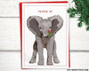 "Holiday: Elephant with mistletoe ""Pucker Up"" Holiday Card, 5""x7"""