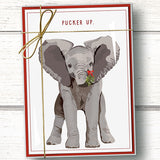Funny elephant Christmas card pack