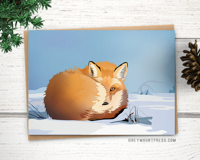 Fox greeting card. Fox Christmas card.