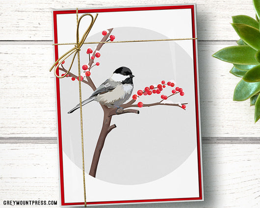Blackcapped Chickadee Christmas Cards 15pack Card Box