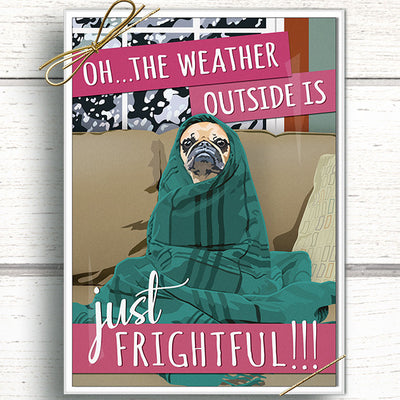 Pug holiday card pack