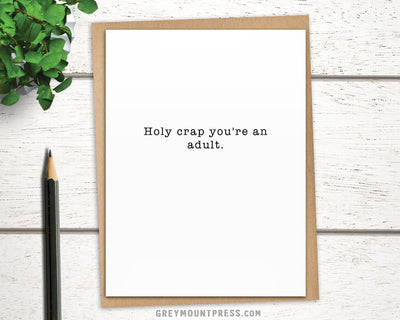 Funny graduation card for 18 year olds.