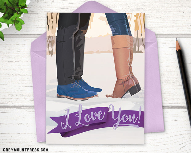 I Love You: Kissing In The Snow Anniversary Card 1