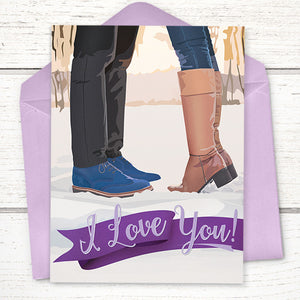 I Love You: Kissing In The Snow Anniversary Card