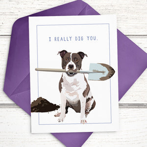I Really Dig You Funny Dog Card with Pitbull