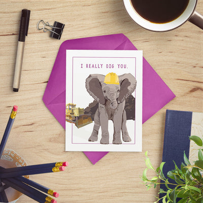 "I Really Dig You card featuring our industrious elephant, A6 (4.5""x6"") - Greymount Paper & Press"
