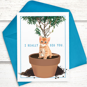 I Really Dig You Funny Cat Card