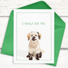 Funny dog card. Doodle platonic valentine's day card.