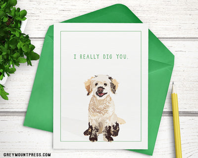 "I Really Dig You naughty puppy Mika maltipoo card, A6 (4.5""x6"") - Greymount Paper & Press"