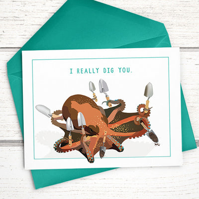 "I Really Dig You octopus shovel card, A6 (4.5""x6"") - Greymount Paper & Press"