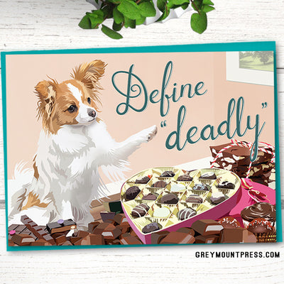 Funny dog card for valentine's day Papillon