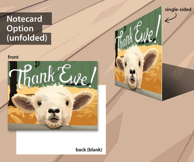 Lamb thank you cards for livestock auctions and buyers.