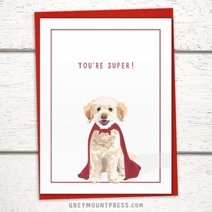 "Doodle Thank You Card: ""You're Super!"" Dog Thank You Card"