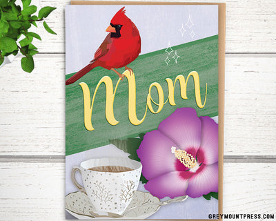 Cardinal and Flower birthday card for mom